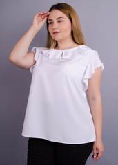 Руна. Легка офісна блуза плюс сайз. Білий.