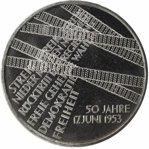 10 евро. 50 лет забастовке в Восточной Германии. Германия. 2003 год. Серебро