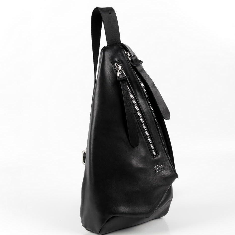 Нагрудная мужская сумка рюкзак из кожи HT-072