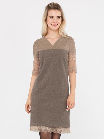 Фото элегантное бежевое  платье  прямого силуэта - Платье З313-283 (1)