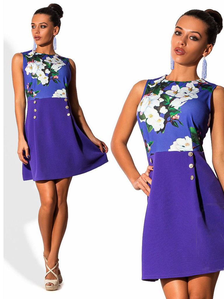 Короткое летнее платье с принтом, фиолетовое