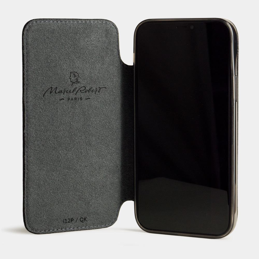 Чехол Benoit для iPhone 12 Pro Max из натуральной кожи теленка, цвета черный мат
