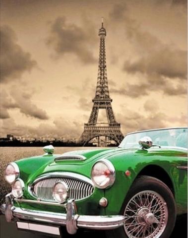 Алмазная Мозаика 40x50 Ретро автомобиль в Париже (арт. WXSA2361)