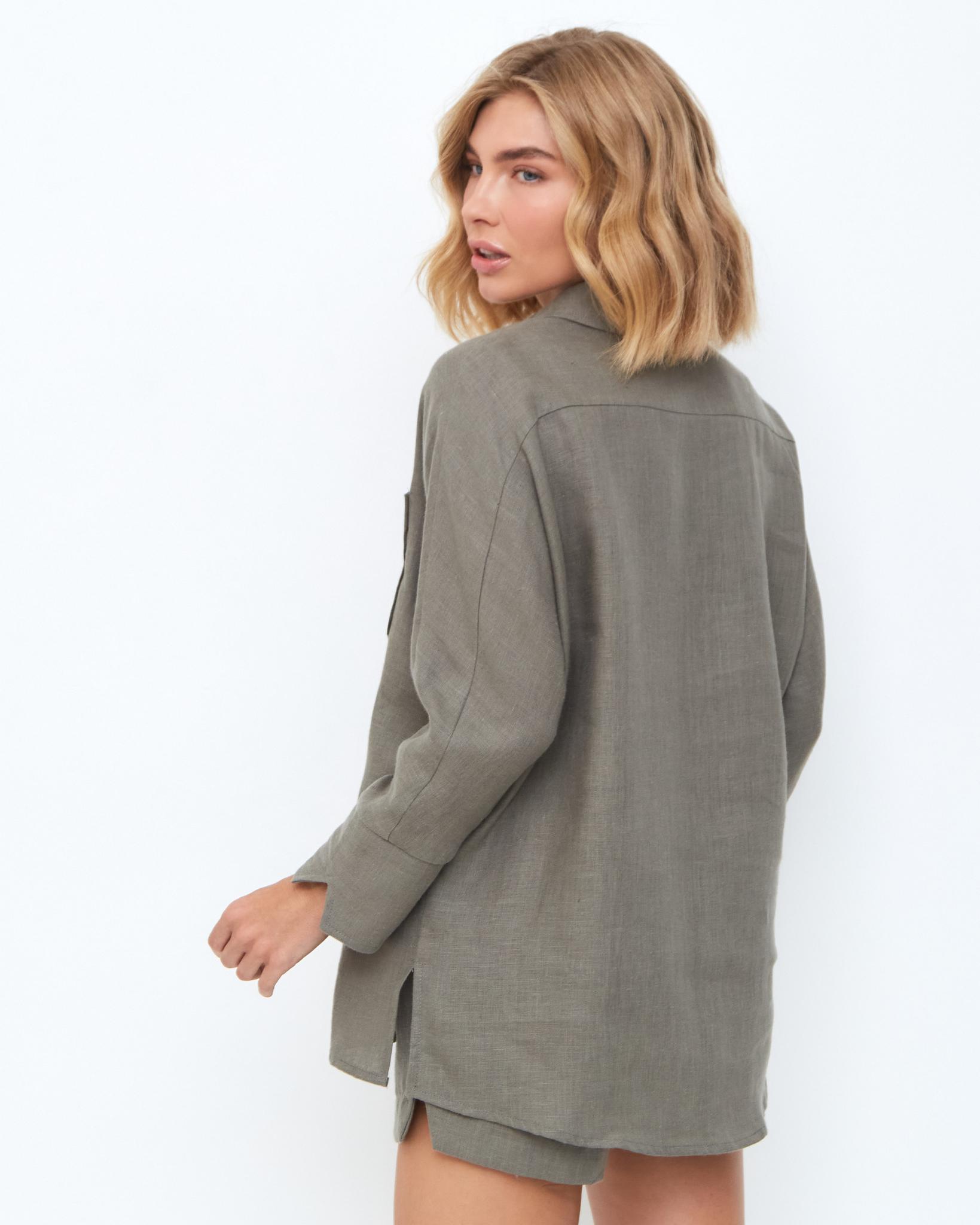 Рубашка изо льна с карманом