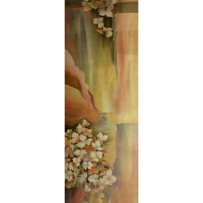 Палантин батик Бежевые цветы С-49-ш