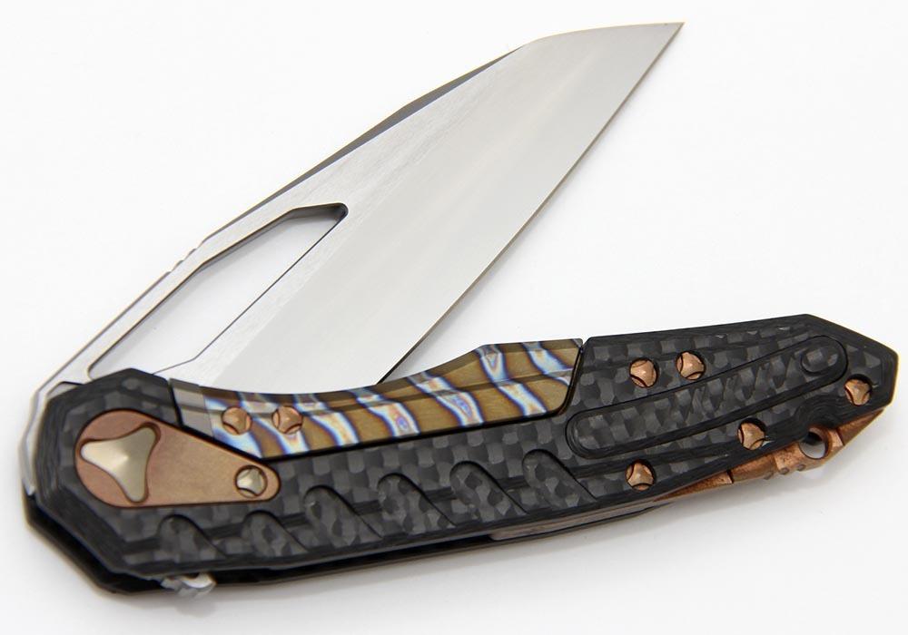 Нож Custom Microtech Sigil satin cowry-Y/Carbon Fiber/Copper Hardware - фотография