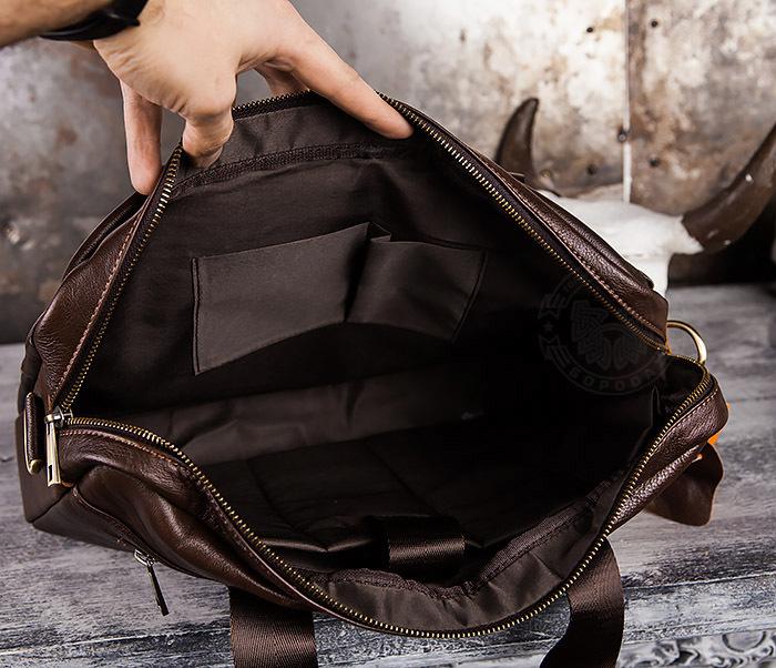 BAG428-2 Стильный мужской портфель из натуральной кожи с ремнем на плечо фото 09