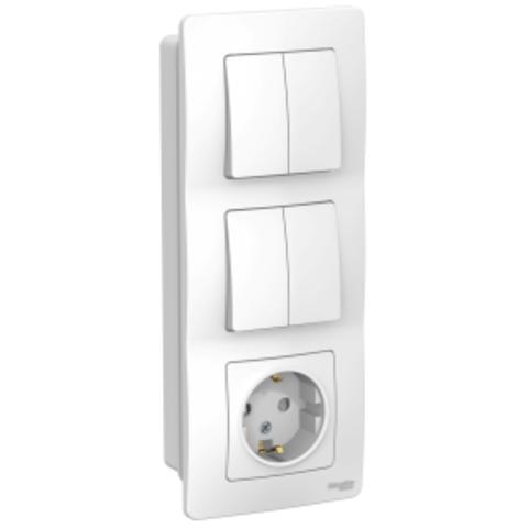Блок: Розетка з/к шт 16А, 250В + Выключатель 2-кл. + Выключатель 2-кл. Цвет Белый. Schneider Electric Blanca. BLNBS102201