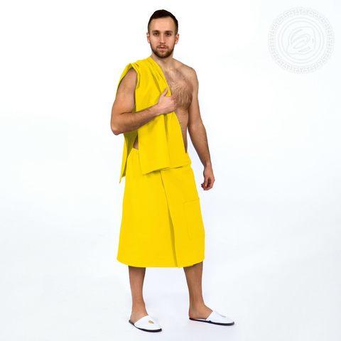 Набор для бани и сауны мужской желтый вафельное полотно
