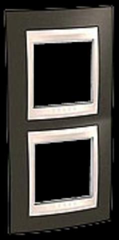 Рамка на 2 поста. Цвет вертикальная Какао/Бежевый. Schneider electric Unica Хамелеон. MGU6.004V.571
