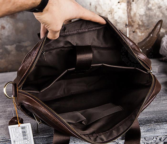 BAG428-2 Стильный мужской портфель из натуральной кожи с ремнем на плечо фото 10