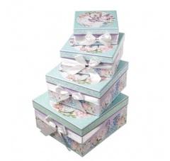 Набор коробок Романтик 4шт, 23х23х12см, розовый/голубой
