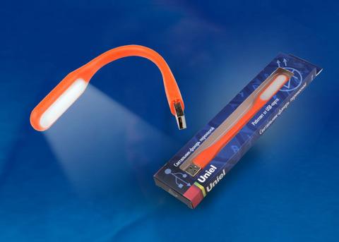 TLD-541 Orange Светильник-фонарь переносной Uniel, прорезиненный корпус, 6 LED, питание от USB-порта. Упаковка-картон, цвет-оранжевый.