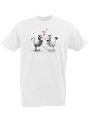 Футболка с принтом Кот, Кошка, Котенок (кошки) белая 0002