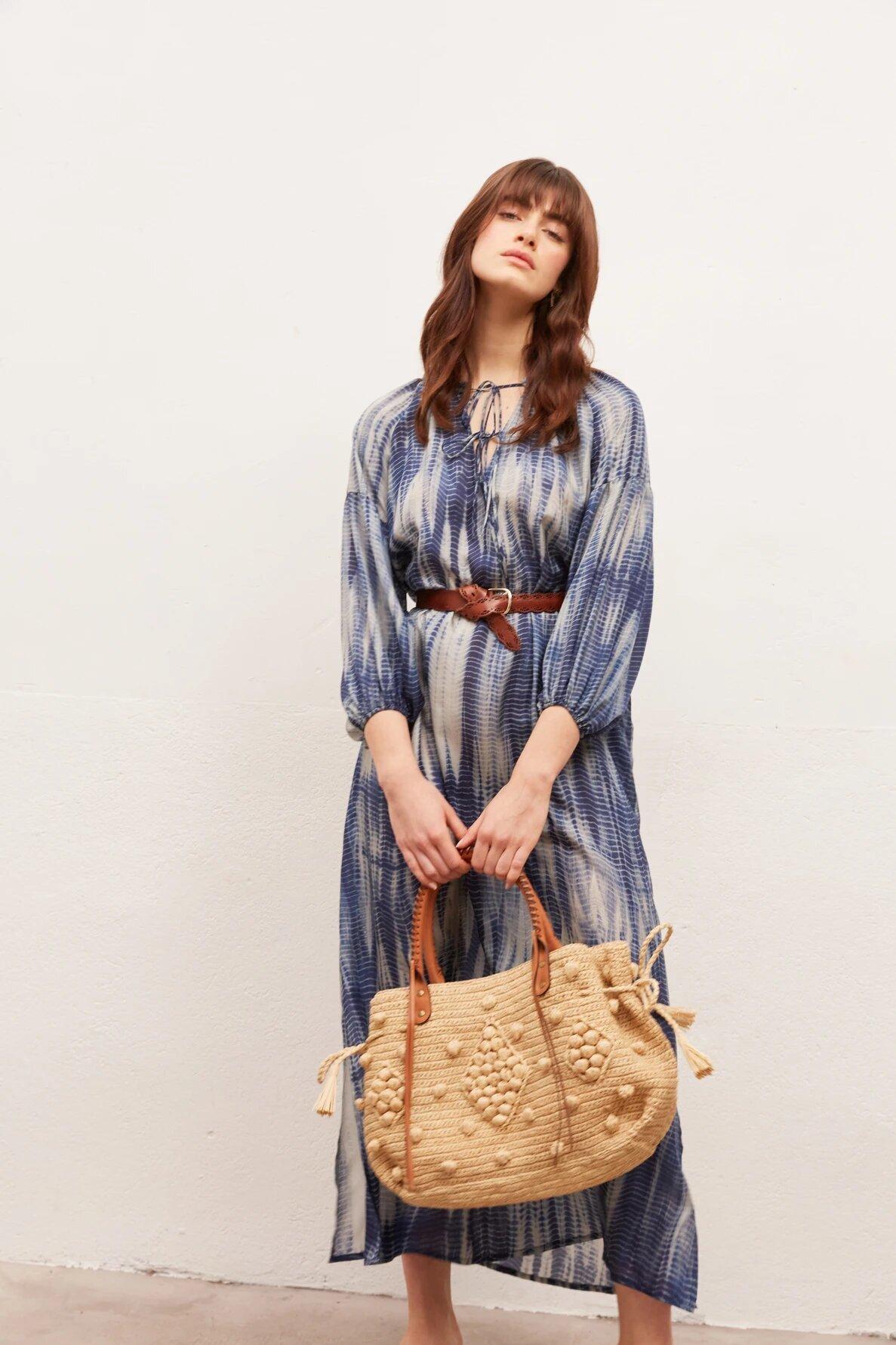 SEINA - Длинное шелковое платье с принтом