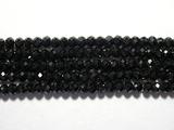 Нить Бисера из шпинели черной, рондель граненая 2x3мм