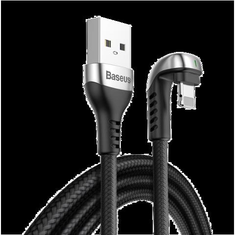 Baseus / Green U-форма для iPhone Lightning - USB с индикатором статуса зарядки | черный 2.4A 1м