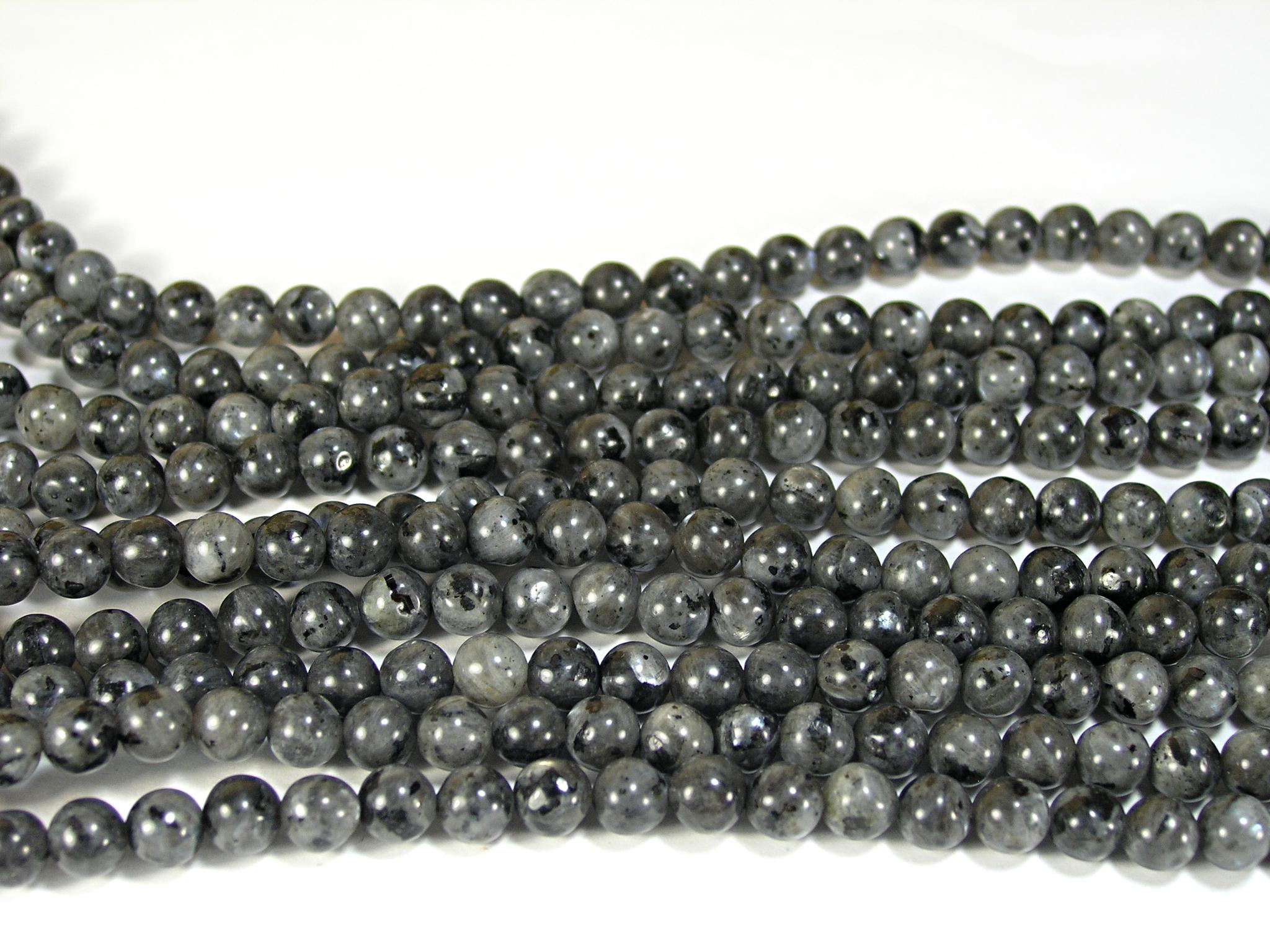 Нити бусин из лабрадора черного, шар гладкий 6мм (оптом)
