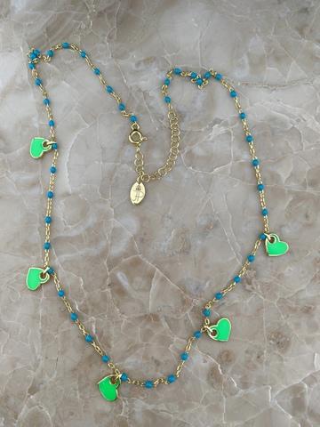 Колье Лавуа с голубой и зеленой эмалью