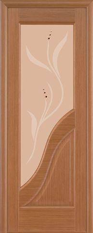 Дверь Луидор Ирида, стекло ландыш, цвет орех, остекленная