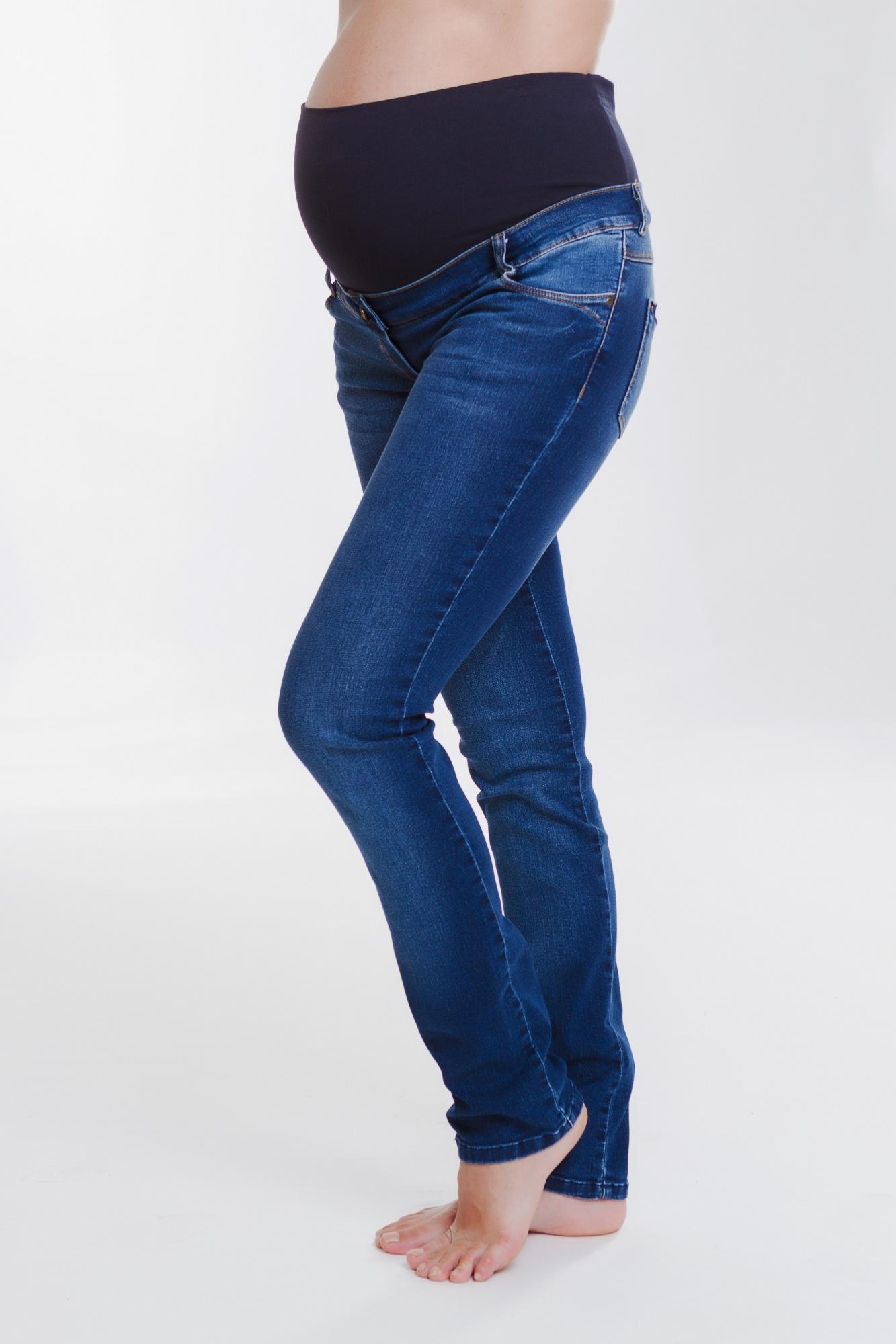 Фото джинсы для беременных MAMA`S FANTASY, широкий бандаж, средняя посадка от магазина СкороМама, синий, размеры.