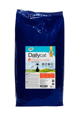 DailyCat Adult Sterli Lite Turkey & Rice для взрослых кастрированных и стерилизованных кошек с индейкой и рисом 10 кг