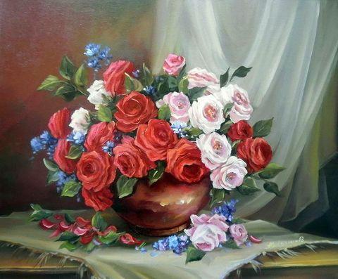 Алмазная Мозаика 40x50 Букет роз в глиняной круглой вазе