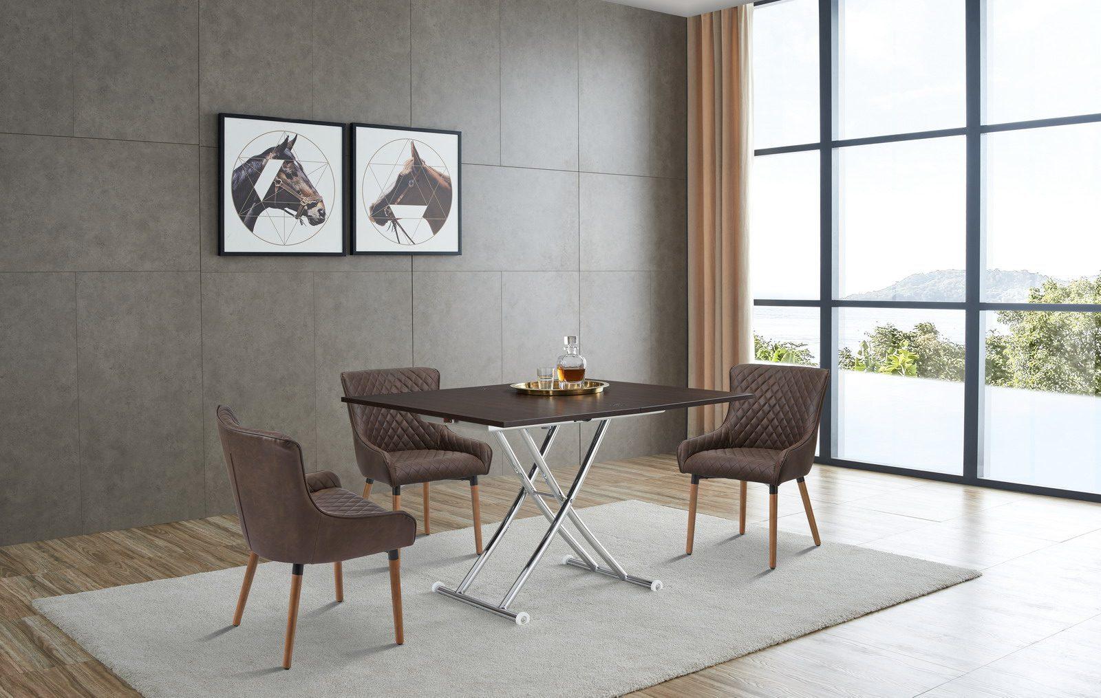 Стол-трансформер ESF В2219 AG венге и стулья 9-19M коричневые (brown)