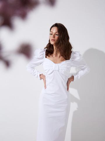 Платье из хлопка с деталью бант белый