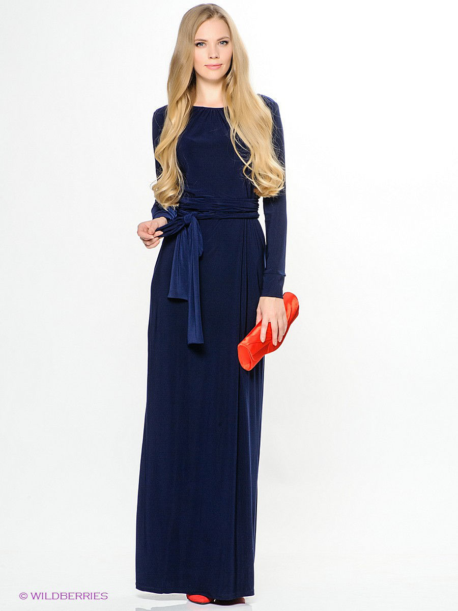 Платья Платье F77-01 длинное масло синее 1809463-1.jpg