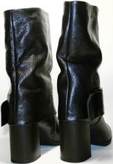 Осенние полусапожки женские. Черные полусапожки из натуральной кожи Cluchini - Leathser Black/