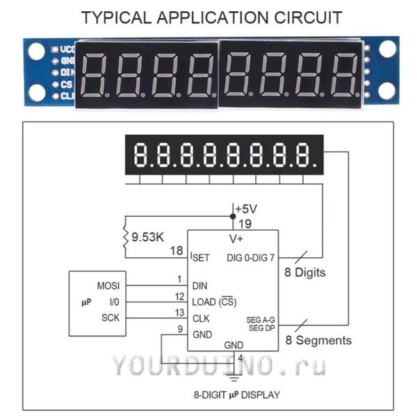8-символьный 7-сегментный индикатор с драйером MAX7219