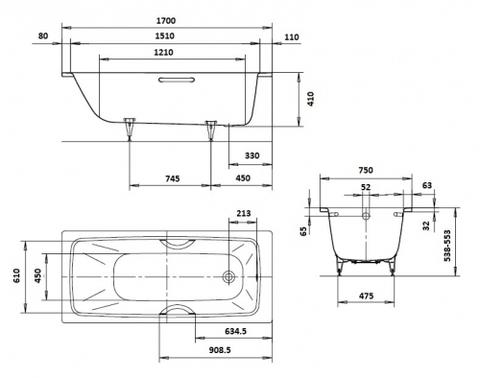 Ванна стальная  Kaldewei Cayono 750 170x75x41 схема