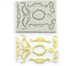 0649 Молд силиконовый Набор орнаментов с рамкой