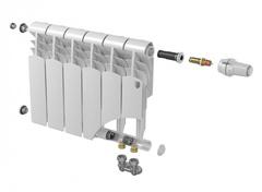 Биметаллический радиатор с нижним правым подключением Vittoria 350 VD - 4 секции