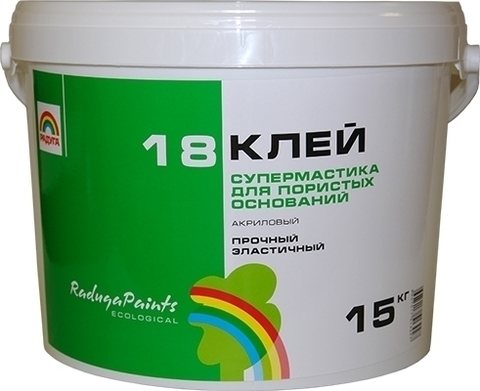 Клей Радуга 18 супермастика вд-ак 18 акриловый для пористых оснований 45 кг.