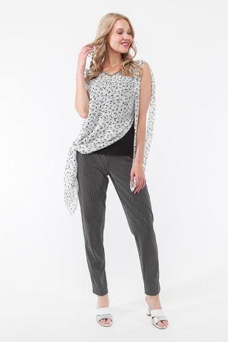 Фото белая асимметричная блуза-туника с v-образным вырезом и оригинальным принтом - Блуза Г716-163 (1)