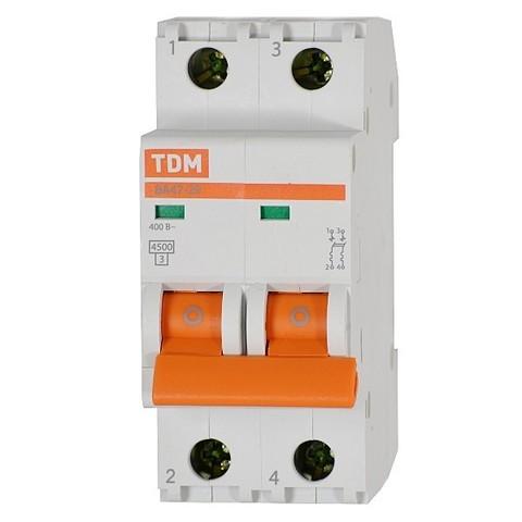 Автомат выкл.TDM ВА47-29 2Р 63А 4,5кА С