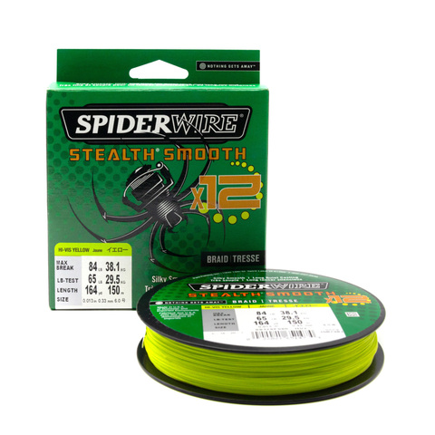 Плетеная леска Spiderwire Stealth Smooth 12 Braid Ярко-желтая 0,33 мм. 38,1 кг. 150 м. (1507381)