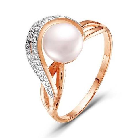 Серебряное кольцо с жемчугом м позолотой