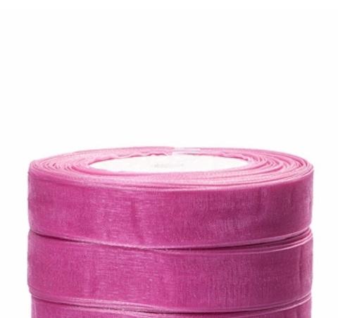 Лента органза (размер:15мм х 25 ярдов) Цвет: розовый