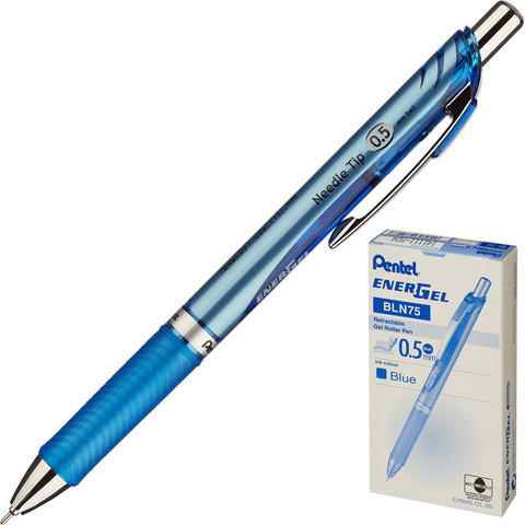Ручка гелевая автоматическая Pentel EnerGel синяя (толщина линии 0.25 мм)