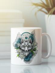 Кружка с изображением Волк (Wolf) белая 008
