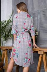 Рубашка-платье с поясом Миа-Миа цветы и клетка