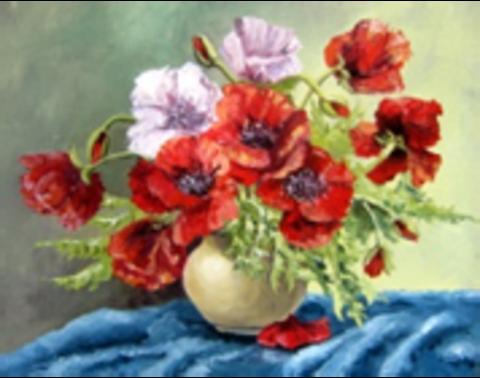 Картина раскраска по номерам 30x40 Маки в вазе