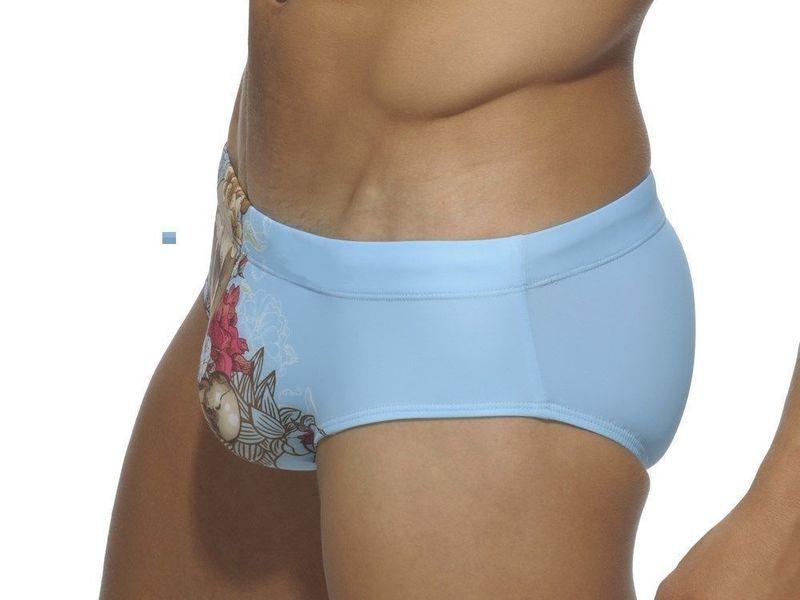 Мужские плавки брифы голубые с принтом Addicted