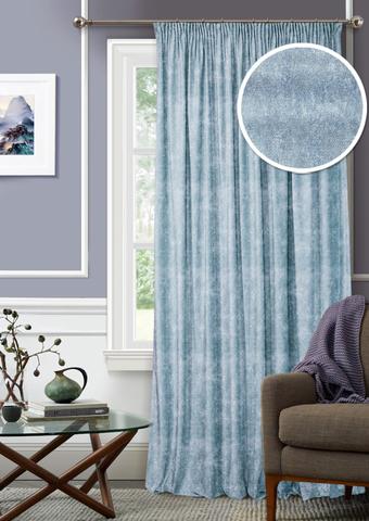 Готовая штора Бархат с подхватом голубой