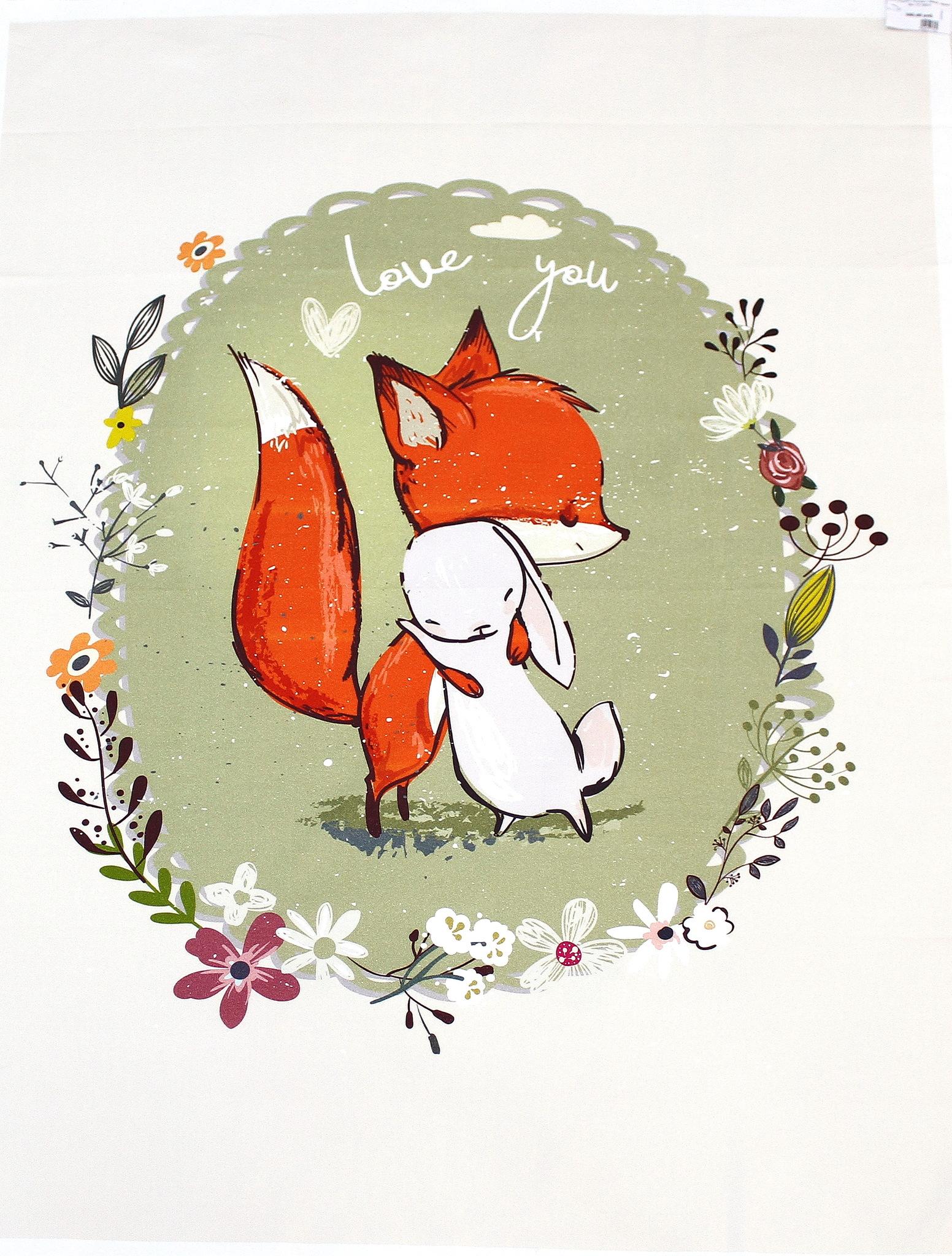 Панель(купон) лисенок с зайцем, фон хаки - 75*100 см