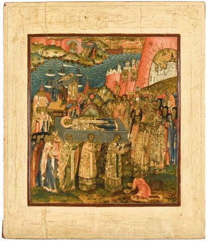 Икона перенесение мощей святого Николая Чудотворца на дереве на левкасе