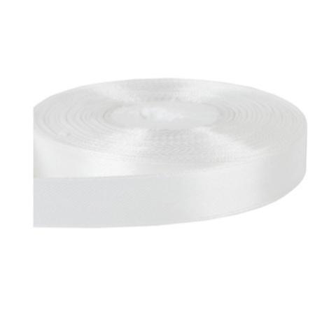 Лента атласная (размер: 15мм х 30м) Цвет:белая